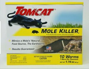 TOMCAT Mole Killer 10 WORMS Earthworm Shaped Bait Pest Rodent Control Scotts