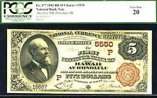 1882, $5 Fr 477 Charter # 5550 Hawaii Pcgs 20-Just 1 In Higher Grade-Rare