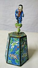 "Chinese Figural Blue Enamel Bell w Immortal Figure Handle,5.5"" tall"