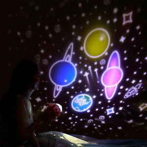 Night Light Projector  LED Star Space Rocket Lamp Gift  Kid Room Rotating Bedsid