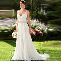 Summer Beach White/Ivory Chiffon Wedding Dress V Neck Backless Ball Bridal Gown