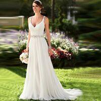Summer Beach White/Ivory Chiffon Wedding Dress V Neck Backless Ball Bridal Gown