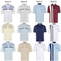 Mens Summer Short Sleeve Shirt Striped Casual Collared T-Shirt Holiday M-5XL