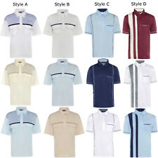 Mens Summer Short Sleeve Shirt Striped Casual Collared T-Shirt Holiday M-5XL