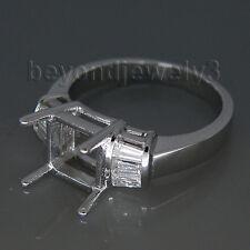 Solid 18k White Gold Diamond Semi mount Engagement Wedding Ring Princess 7mm