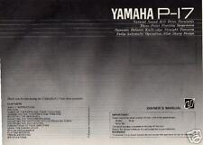Yamaha Home Audio Owners Manual P-17 P17 FREE USA SHIP