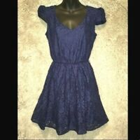 NWT Fit and Flare Navy Blue Lace Lined Party Holiday Dress - Sz XS HeartSoul
