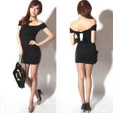 Mini abito corto nero stretch XS/S maglietta lunga attillata aderente barchetta