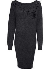 Strickkleid Gr. 36/38 Schwarz Mini-Strick-Kleid Langarm Freizeit-Dress Neu*