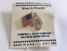Campbell Soup Company Savings Bond Drive American Flag Vtg Lapel Pin 1940's Card