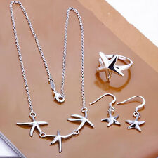 925Sterling Silver Lovely Starfish Women Jewelry Necklace Ring Earrings Set S175