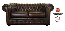 Chesterfield 100% Pure Leather Two Seater Sofa Antique Brown Vintage UK Handmade