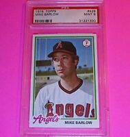 1978 Topps Baseball #429 Mike Barlow Angels,  PSA 9 MINT High Grade card.