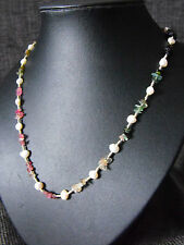 TOURMALINE gemstone fresh water pearl knotted necklace 925 sterling silver OOAK