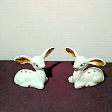 Vintage Deer Two Baby Fawns White Porcelain Big Gold Ears Japan
