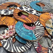 Printed Wooden Pendant, Flat Round, Animal Skin Pattern, 60x3mm, 10 pieces.