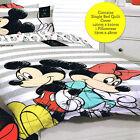 Mickey & Minnie Mouse Disney Besties Single/Twin Bed Quilt Doona Duvet Cover Set