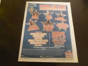 Farm Aid 2007 Concert Poster Ad Advert Willie Nelson Neil Young Dave Mathews ABB
