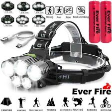 Powerful 350000LM LED Headlamp Rechargeable Headlight Flashlight Head Torch