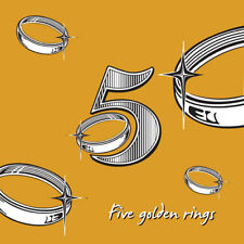 'Five Golden Rings' Christmas Card for friends & family in antique gold