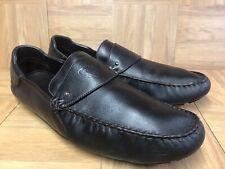 139876581 RARE🔥 GUCCI Driving Moccasins Brown Leather Men's Size 13.5 Logo Emblem  Gent