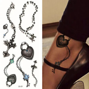6pcs Key to Heart Chain, Cross Temporary Tattoo Sticker Women Girls Arm Hand Leg