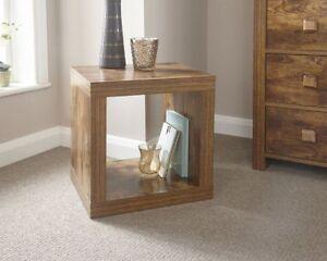 New Jakarta Mango Wood Cube Table Storage Lamp Table