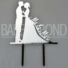Mr & Mrs Bride & Groom Silver Acrylic Wedding Day Cake Topper Silhouette