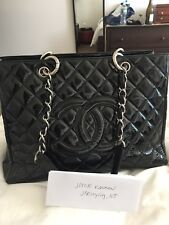 CHANEL GST GRAND SHOPPING TOTE BLACK PATENT WITH SILVER HW