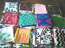 ethnic Indian cotton print fabric squares patchwork 12 pieces 11cm