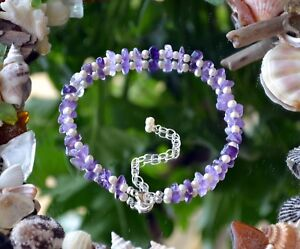 """Amethyst Chip Gemstone & Freshwater Pearl Anklet on Sterling Silver 8"""" to 10"""""""