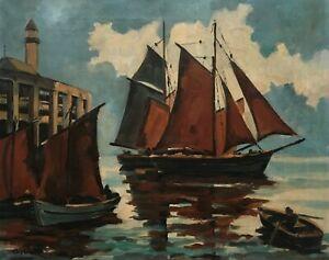 Tableau ancien signé, Bateau au port, Huile sur toile, Marine, XXe