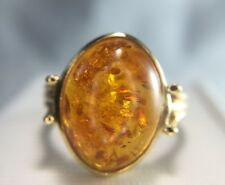 Estate Vintage Style 14k Yellow Gold Oval Baltic Brown Amber Bezel Set Ring