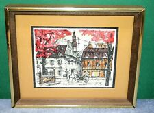 Vintage Watercolor Print by C Roy - Rue du Tresor Quebec - Matted & Framed
