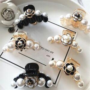 Luxury Camellia Hair Claw Women Hair Jewelry Camellia Flower Fashion Head Pearls