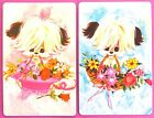 PAIR VINTAGE SWAP CARDS c1970s CUTE PUPPY DOGS WITH BASKETS OF FLOWERS. MINT