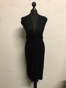 Yves Saint Laurent Designer Black Knot Front Midi Dress Low Neck Size 36 8 10