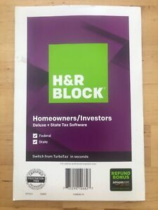 H&R Block Tax Software Homeowners/ Investors Deluxe +State 2019 NEW Sealed Disc