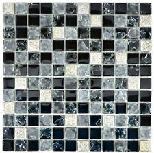 Mosaico Tessere traslucido Vetro Resina Grigio Nero argento 92-0333_f |10 foglie