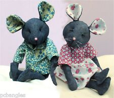 Raggedy Mouse soft toy sewing pattern. recycle your denims
