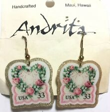 Vintage Love Heart Stamp Earrings Laminated US Postage Dangle Hawaiian Made