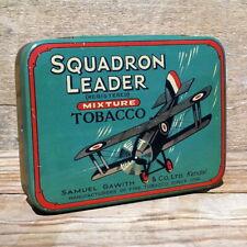 Vintage Original 1930s SQUADRON LEADER AIRPLANE BOMBER Empty Tobacco Tin NOS