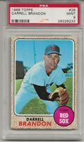 1968 TOPPS #26 DARRELL BRANDON , PSA 9 MINT, SET BREAK- RED SOX, TOUGH, 4 HIGHER