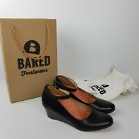 Bared Footwear Shoes Size 36 Mockingbird Black Wedge Heel Ankle Strap