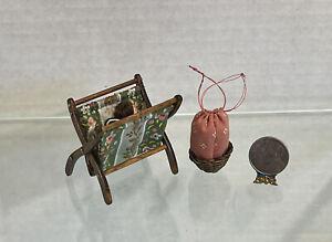 Vintage Artisan Wood Folding Basket & Tie Up Basket Dollhouse Miniature 1:12