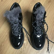 Steve madden Patent Leather Boots Size 39 Fur Lined