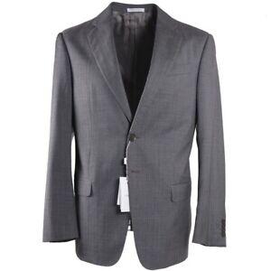 NWT $1695 ARMANI COLLEZIONI Classic-Fit Gray-Sky Blue Stripe Wool Suit 40 R