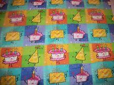 Birthday Cake Candles blocks squares applique Fabric BTY
