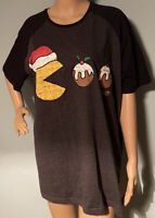 Pacman Unisex Christmas Top T Shirt Size XL Grey Mix Exc Cond
