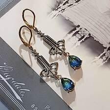 Art Nouveau Long Earrings Green Blue Swarovski Crystal drop Art Deco Handmade UK